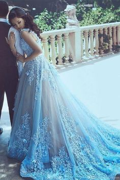 2017 Wedding Dresses Straps Blue Hand-Made Flower Tulle #weddingdresses #2018weddingdresses #tulledresses #flowerpromdresses