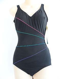 d73307185e5 Longitude Slimming One Piece Swimsuit By Aquacize Size 8 Tall New With Tags