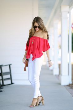 First outfit:   Free People Merpati top  // white pants  // Steve Madden leopard heels   House of Harlow turquoise p...