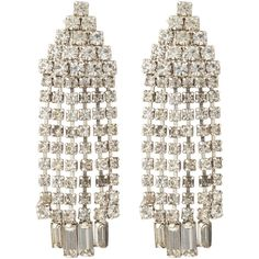 Susan Caplan Vintage Bridal 1960s Chrome Plated Austrian Crystal... (€110) ❤ liked on Polyvore featuring jewelry, earrings, silver earrings, drop clip earrings, vintage 80s earrings, vintage drop earrings and vintage clip earrings