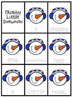 Chubby Little Snowman Nursery Rhyme Literacy Tasks - try Georgie Porgie nursery rhyme literacy center for free today!