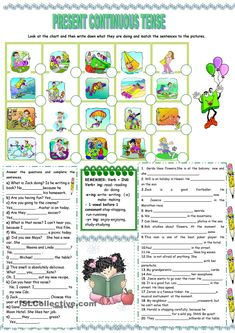 PRESENT CONTINUOUS TENSE - worksheet - kindergarten level