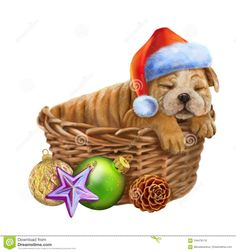 Lovely New Year`s Puppy Sleeps In A Santa Hat Stock Illustration - Image: 104478110