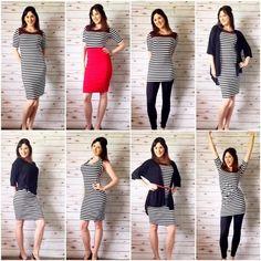 LulaRoe styles for Julia dress Lularoe Julia Dress, Lularoe Dresses, Style Me, Cool Style, Lula Roe Outfits, Cute Outfits, Style Inspiration, Style Ideas, How To Wear