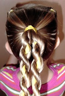Little Girl's Hairstyles -Twist Braid with Ribbon Video | http://hairstylecollections.blogspot.com