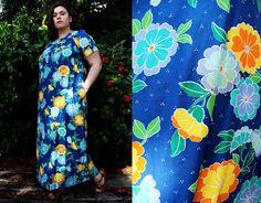 Plus Size - Vintage 1970's Blue Bright Floral Maxi Dress by TheCurvyElle, $40.00
