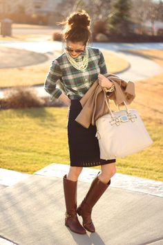 pencil skirt, plaid shirt, riding boots, pearls, outfit-shorter skirt, top out layered over singlet, add tights.