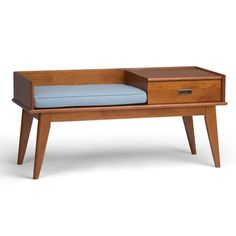 Simpli Home Draper Solid Hardwood 48 in. Wide Mid Century Modern Entryway Storage Bench in Teak Brown - The Home Depot Storage Bench With Cushion, Entryway Bench Storage, Entryway Furniture, Bench Furniture, Storage Benches, Entry Bench, Brown Furniture, Table Storage, Metal Furniture