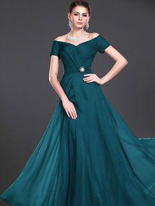 Elegant Evening Dress Flowing Chiffon Mother of the Bride Dress w/ Brooch 2-14