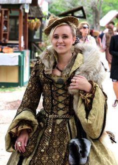 Renaissance Fair Costume with real fur. Scarborough Fair Tx