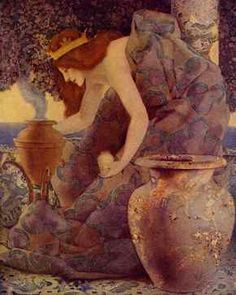 Maxfield Parrish, Queen Gulnare of the Sea Summoning Her Relations, 1910. Lithograph, 19 x 17 in.