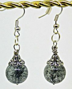 Crackled Marble Glass Earrings by BlindedEyeDesigns on Etsy