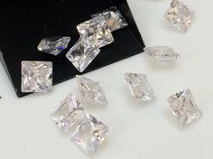 50 Pcs 3mm Cubic Zirconia Loose Square Zircon by gemsforjewels