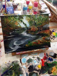 The outcome after a 3hr session of Art Jamming. #art #acrylicpaint #landscape #painting #nature.