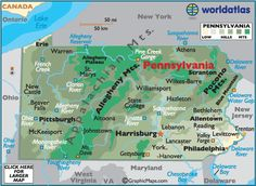 Map of Pennsylvania - Pennsylvania Map, Philadelphia History, PA Facts Attractions - World Atlas