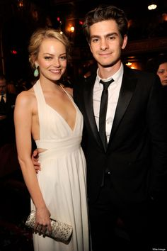 Emma Stone (in a beautiful white Narciso Rodriguez gown) and Andrew Garfield ~ Tony Awards ~ June 10, 2012