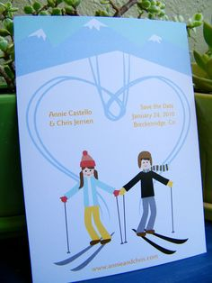 """""""I heart skiing"""" save the dates - available through Loo Bird Press on etsy."""