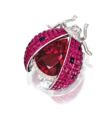 "Pink tourmaline, ruby, sapphire and diamond ""Ladybug"" brooch"