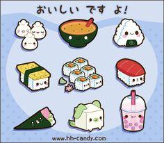 Happy, cartoony Japanese food. ...so where's the Pocky?