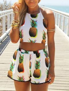 Spaghetti Strap Pineapple Print Backless With Shorts