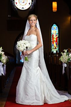 #RealBride wearing a rustic raw silk strapless wedding dress designed by heidi elnora! Gorgeous for her traditional church wedding!