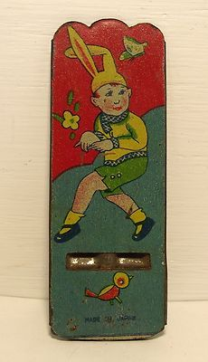 Vintage TIN Litho Made IN Japan TOY Cracker Jack Prize Charm Whistle BOY