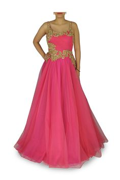 Rose pink indian bridal gown
