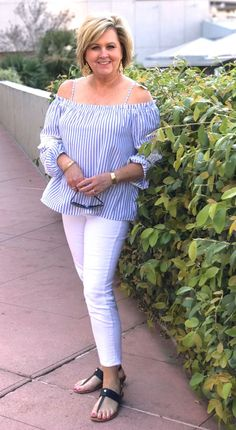 50 IS NOT OLD | OFF THE SHOULDER STYLE | Off The Shoulder  Top | Blue & White | Stripes | White Jeans | Fashion over 40 for the everyday woman