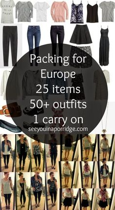 (practice) packing for Europe: 25 items = 50 outfits Europe Travel Outfits, Packing For Europe, Travel Outfit Summer, Backpacking Europe, Travel Wardrobe, Packing Tips For Travel, Summer Travel, Capsule Wardrobe, Packing Ideas