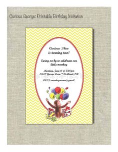 Curious George Printable Invitation by PrintablePartiesInc on Etsy, $10.00