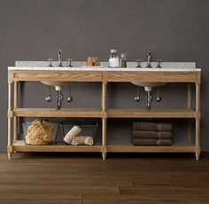 GORGEOUS | Copy Cat Chic | Chic For Cheap: Restoration Hardware Weathered  Oak Double Washstand · Wood BathroomBathroom CabinetsBathroom ...