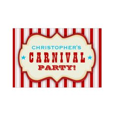 Shop Vintage Red White Carnival Party Yard Sign created by kat_parrella. Carnival Signs, Kids Carnival, Carnival Birthday Parties, Carnival Themes, Circus Birthday, Circus Party, Birthday Party Themes, Carnival Party Invitations, Custom Yard Signs