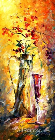 Flowers And Wine Artwork By Leonid Afremov Oil Painting & Art Prints On Canvas For Sale Gravure Photo, Oriental Flowers, Oil Painting Reproductions, Canvas Prints, Art Prints, Oil Painting On Canvas, Painting Gallery, Painting Trees, Beautiful Paintings