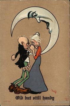 Old Man And Woman Argue Beneath A Quarter Moon Couples