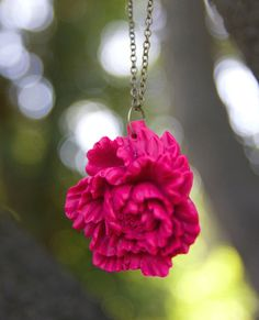 Deep Pink Peony Flower Necklace // Bridesmaid gifts // Rustic Vintage Wedding // Maid of Honor Gifts - Raspberry