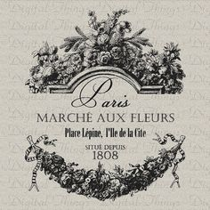 French Paris Flower Market Script  Printable Digital Download for Fabric Iron on Transfer Print Fabric Pillows Tea Towel DT1086