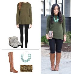 Putting Me Together: From comfy at home to going out.  Khaki sweater+black leggins+ (grey slippers at home or)brown knee-high boots+leopard printed clutch+turquoise necklace. Fall Casual Outfit 2016