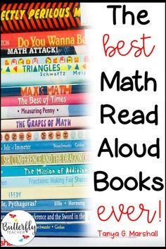 Integrating math and reading gives students a chance to build mastery in both areas!  This post features some of the best math read alouds for math teachers.  #placevaluebooks #multiplicationbooks #fractionbooks #buildingnumbersense #teachingmath #mathideas #mathcenters #elementarymathbooks #geometrybooks #mathbooksforkids #mathinstruction