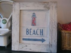 "Shabby Chic Signs and Shabby Chic Wall Art: Framed Shabby Chic ""BEACH"" Sign, with Lighthouse Stencil"