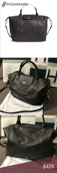 """Longchamp Le Pilage Cuir Leather Handbag Black 12 1/2""""W x 11""""H x 6 3/4""""D. 4"""" strap drop; 20"""" shoulder strap drop.  Silky leather upgrades a capacious top-handle tote perfect for a full day or weekend getaway. An optional strap adds to the versatility, while signature embossing brings iconic style to this beautiful piece. Top zip with snap-tab closure. Optional strap. Interior zip and wall pockets. Signature lining. Come with original dust bag. **Please ask all questions before making an…"""