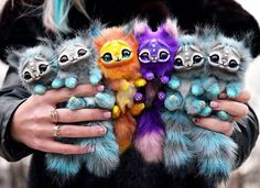 Some more kittens🤗💙💙💛💜💙💙 Cute Fantasy Creatures, Cute Creatures, Magical Creatures, Cute Stuffed Animals, Cute Baby Animals, Fluffy Animals, Felt Animals, Mystical Animals, Colorful Animals