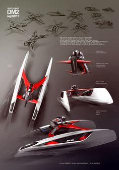 DUCATI CORAGGIO: This poster with only perspective views, all at different angles, gives a very dynamic impression. SPeed is suggested by the shading of the aft ends of the craft. The sketches at the top suggest the long process of research.