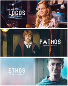 <> Actually an interesting example to explain rhetoric areas. This image shows logos because Hermione was always the logical character in Harry Potter.