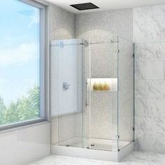 Vigo x in. Clear Glass Shower Enclosure with Base - You'll never want to leave the Vigo x in. Clear Glass Shower Enclosure with Base . This shower enclosure has a deflector. Vigo Shower Doors, Frameless Sliding Shower Doors, Frameless Shower Enclosures, Glass Shower Doors, Sliding Doors, Barn Doors, Entrance Doors, Wood Doors, Shower Base