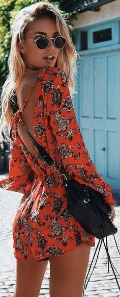 #fall #trending #outfits | Red Floral Playsuit