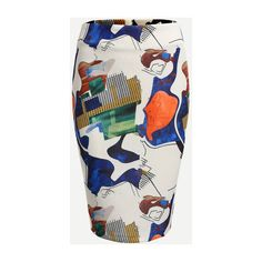 SheIn(sheinside) Abstract Print Zip Back Pencil Skirt ($18) ❤ liked on Polyvore featuring skirts, white, stretch pencil skirt, pencil skirt, stretch skirts, knee length summer skirts and summer skirts