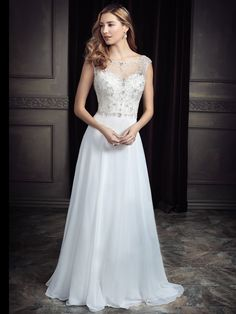 Ella Rosa Style BE329 | beautiful beaded chiffon gown with illusion neckline | starry night wedding