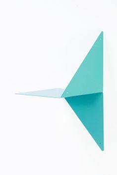 étagère en métal plié origami ADONDE bleu turquoise