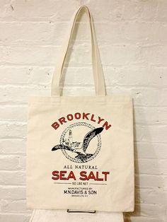 Screen printed canvas tote bag Sea salt sack by mndavisandson