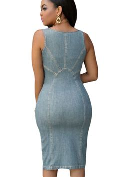 37229b92e8f midi dress Picture - More Detailed Picture about Dearlove dress XXL robe  sexy dentelle Women Party Dress O neck Faddish Denim Light Blue Gold Zipper  Front ...